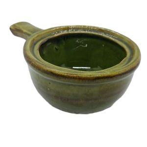 💗Green/Brown Glaze 411 Canada Pottery Soup Bowl